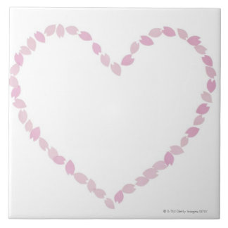 Flor de cerezo en forma de corazón azulejo cuadrado grande