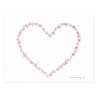 Flor de cerezo en forma de corazón tarjeta postal