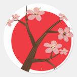 Flor de cerezo etiqueta redonda