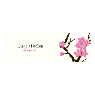 Flor de cerezo, flores de Sakura - Brown blanco Plantilla De Tarjeta Personal