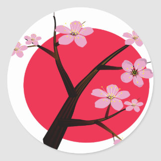 Flor de cerezo japonesa bonita pegatina redonda
