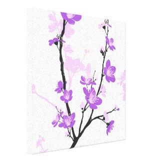 Flor de cerezo japonesa, púrpura real, flor, chica lienzo envuelto para galerías