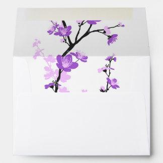Flor de cerezo japonesa, púrpura real, flor, chica sobres