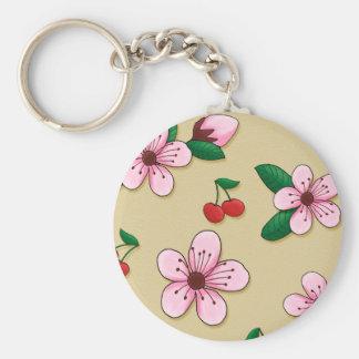Flor de cerezo japonesa retra Keycain Llavero Redondo Tipo Pin