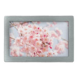 Flor de cerezo japonesa rosada hermosa Sakura Hebillas Cinturon Rectangulares