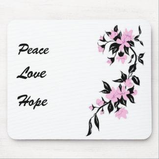 Flor de cerezo Mousepad de la paz, del amor y de l Alfombrilla De Raton