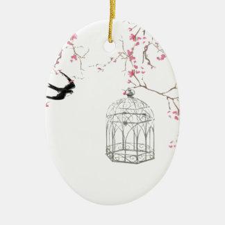 Flor de cerezo, pájaro, birdcage - original, adorno navideño ovalado de cerámica