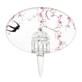 Flor de cerezo, pájaro, birdcage - original, decoraciones para tartas