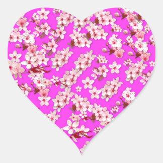 Flor de cerezo pegatina en forma de corazón