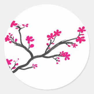 flor de cerezo pegatina redonda