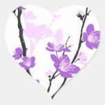 Flor de cerezo, púrpura real, modelo oriental, pegatina en forma de corazón