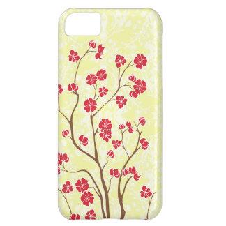 Flor de cerezo roja + caja amarilla del iphone 5 d