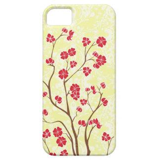 Flor de cerezo roja + caja amarilla del iphone 5 d iPhone 5 carcasas