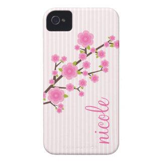 Flor de cerezo rosada femenina personalizada Case-Mate iPhone 4 fundas