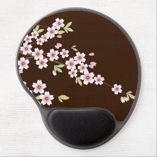 Flor de cerezo rosada/marrón alfombrilla de ratón con gel
