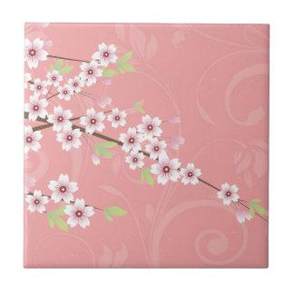 Flor de cerezo rosada suave azulejo cuadrado pequeño
