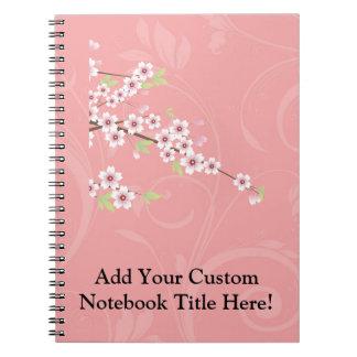 Flor de cerezo rosada suave libro de apuntes con espiral