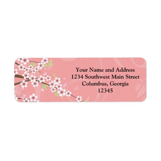 Flor de cerezo rosada suave etiquetas de remite