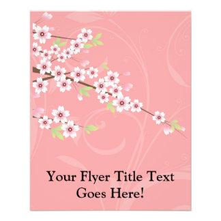 """Flor de cerezo rosada suave folleto 4.5"""" x 5.6"""""""