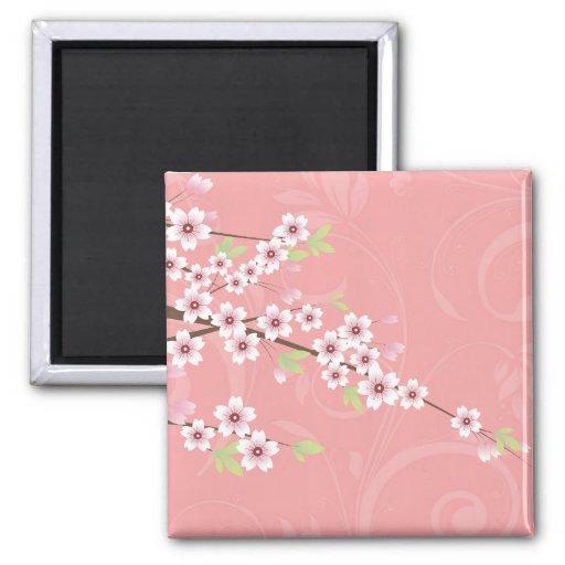 Flor de cerezo rosada suave iman de nevera