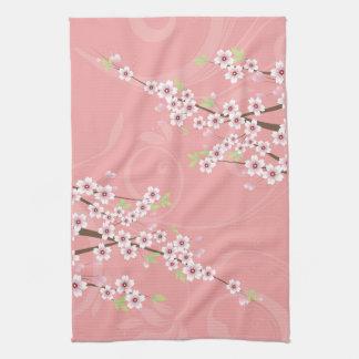 Flor de cerezo rosada suave toalla de cocina