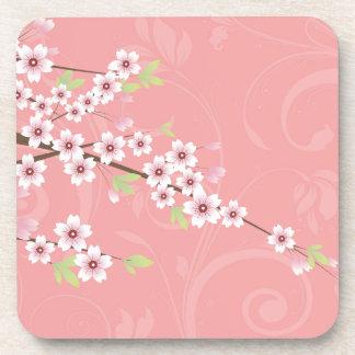 Flor de cerezo rosada suave posavasos