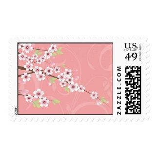 Flor de cerezo rosada suave sello