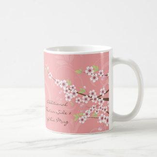Flor de cerezo rosada suave taza de café
