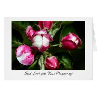 Flor de cerezo rosada - suerte con embarazo tarjeta de felicitación