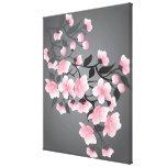 Flor de cerezo, Sakura en fondo negro Impresión En Lienzo
