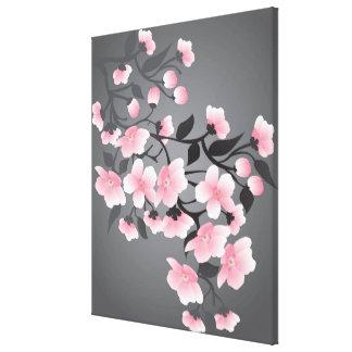 Flor de cerezo, Sakura en fondo negro Impresión En Tela