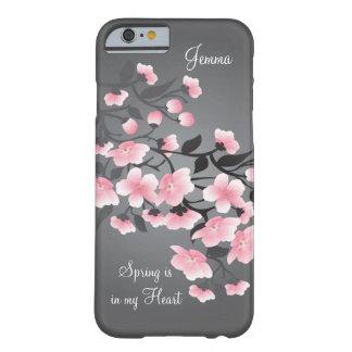 Flor de cerezo (Sakura) en gris Funda Para iPhone 6 Barely There