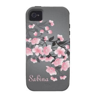 Flor de cerezo (Sakura) en gris iPhone 4 Fundas