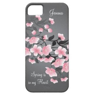 Flor de cerezo (Sakura) en gris iPhone 5 Fundas
