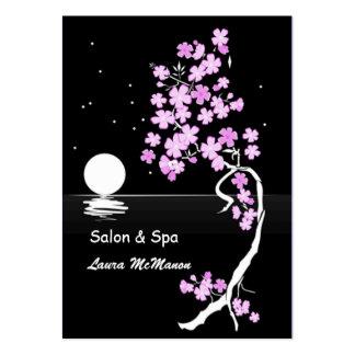 Flor de cerezo (Sakura) en la noche (en negro) Tarjetas De Visita