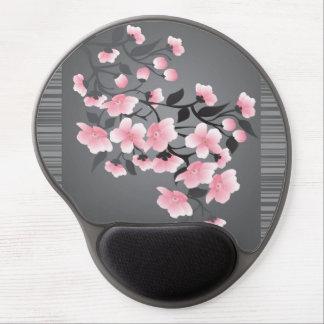 Flor de cerezo (Sakura) en un negro gris Alfombrilla De Ratón Con Gel
