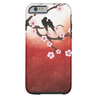 Flor de cerezo Sakura y pájaros del amor