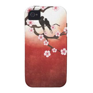 Flor de cerezo Sakura y pájaros del amor Case-Mate iPhone 4 Funda