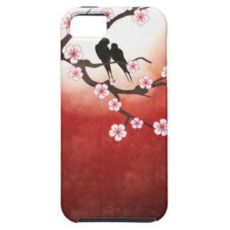 Flor de cerezo Sakura y pájaros del amor iPhone 5 Case-Mate Cárcasa