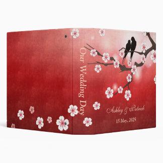 """Flor de cerezo Sakura y pájaros del amor que casan Carpeta 1 1/2"""""""