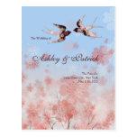 Flor de cerezo Sakura y programa de los tragos del Postales