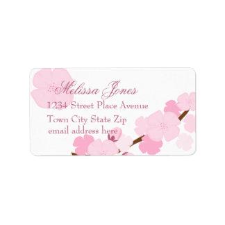 Flor de cerezo soñadora etiqueta de dirección