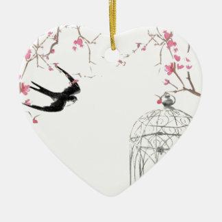 Flor de cerezo, trago, diseño del birdcage adorno de cerámica en forma de corazón