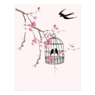 Flor de cerezo, trago - el boda, invita, único tarjeta postal