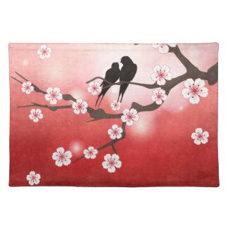 Flor de cerezo y americano MoJo Placem de los pája Manteles Individuales