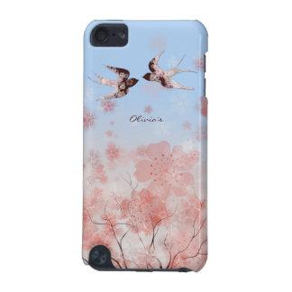 Flor de cerezo y caja de la mota de los pájaros de