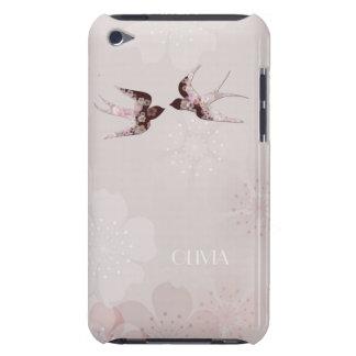 Flor de cerezo y caja de la mota de los pájaros de iPod Case-Mate funda