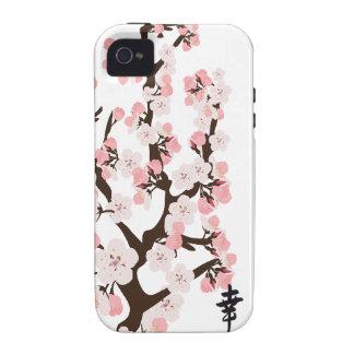 Flor de cerezo y casamata del kanji dura iPhone 4 fundas