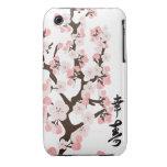 Flor de cerezo y kanji iPhone 3 Case-Mate carcasa