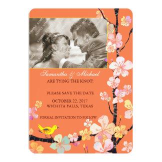 Flor de cerezo y pájaro: Reserva de la foto la Invitación 12,7 X 17,8 Cm